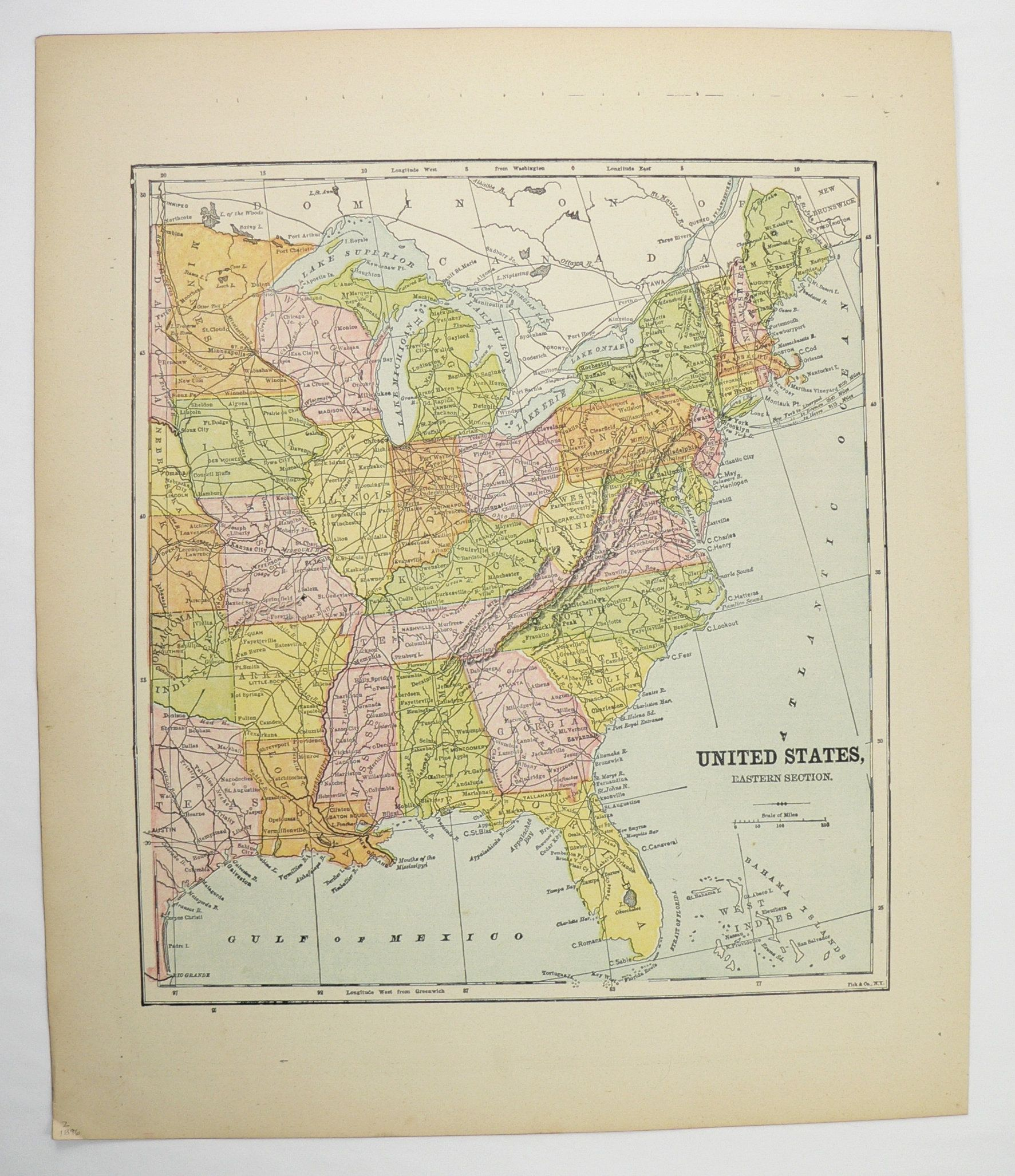 Eastern United States Map 1896 Antique Map, East Coast US ...