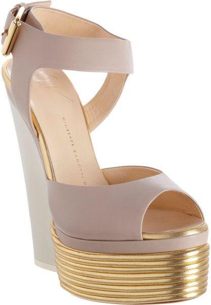 7ec0bcf9549d3 Giuseppe Zanotti Ribbed Platform Sandal in Gray (gold) - Lyst ...