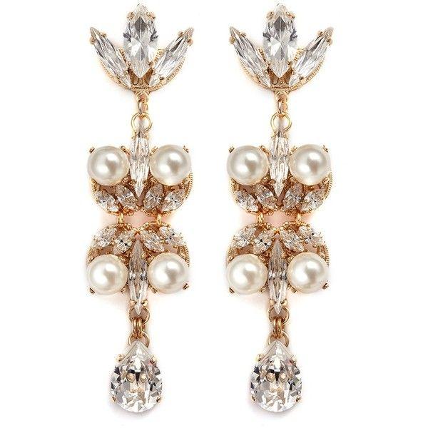 Anton Heunis Swarovski crystal pearl teardrop earrings (16.555 RUB) ❤ liked on Polyvore featuring jewelry, earrings, white, white drop earrings, filigree jewelry, white jewelry, filigree earrings and white pearl earrings