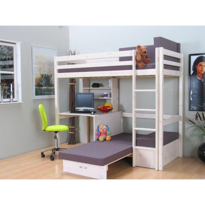 Thuka Kids våningssäng med bäddsoffa, förvaring och skrivbord Visar utdragen bäddsoffa Kid u2019s