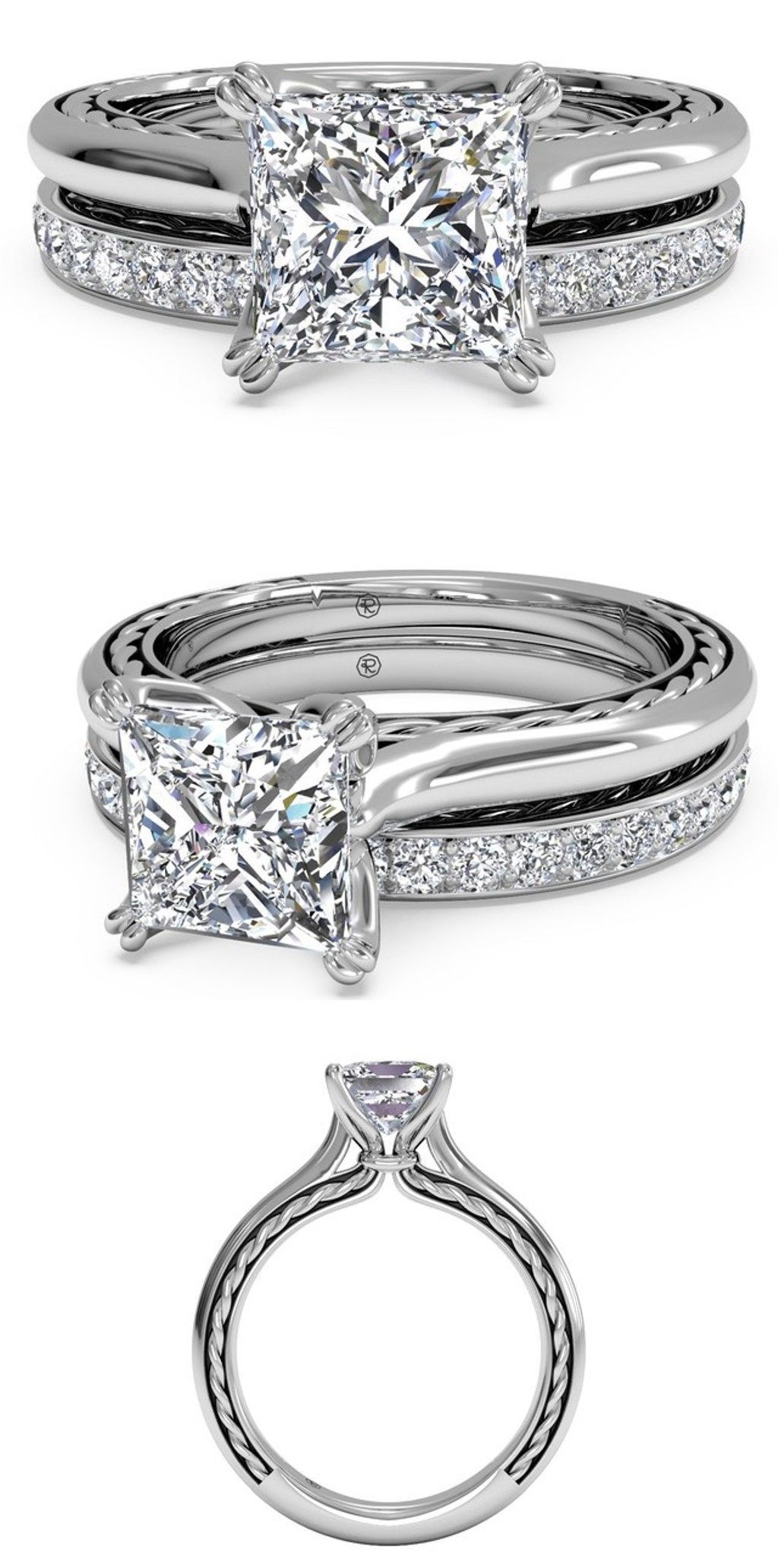 Wedding rings ct princess cut diamond antique engagement and