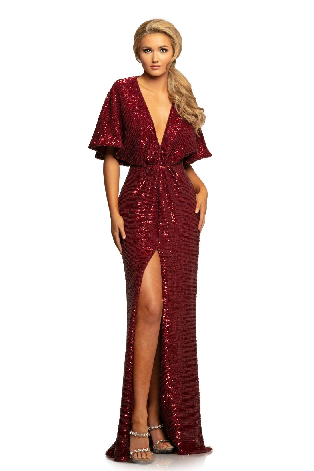 Johnathan Kayne 2015 Plunging V Neck Kimono Sleeves Sequins Gown In 2020 Evening Gowns Wedding Evening Gown Wedding Dress Sequin