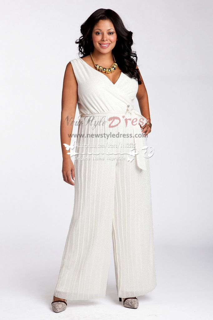 Plus Size Chiffon Wedding Jumpsuit Dress Pant Suits