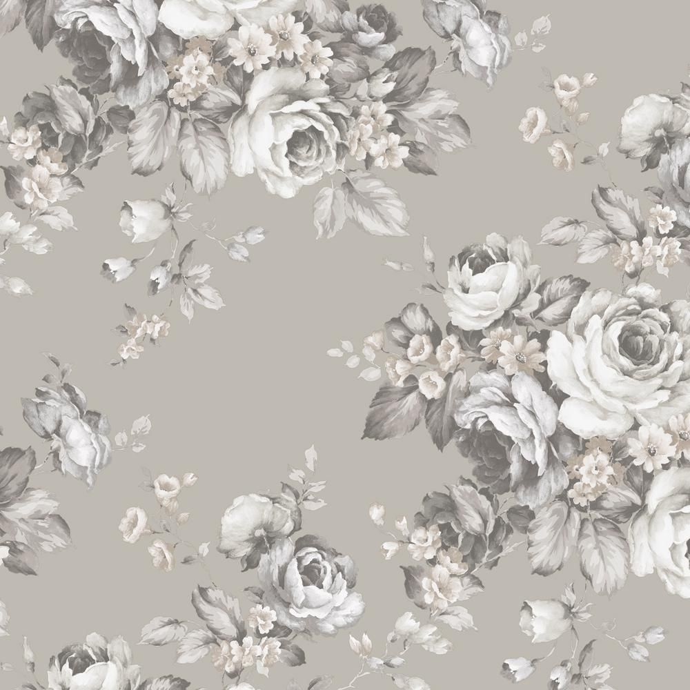 Norwall Grand Floral Black Ebony Sepia Vinyl Roll Wallpaper Covers 55 Sq Ft Af37701 The Home Depot Grey Floral Wallpaper Grey And White Wallpaper Floral Wallpaper