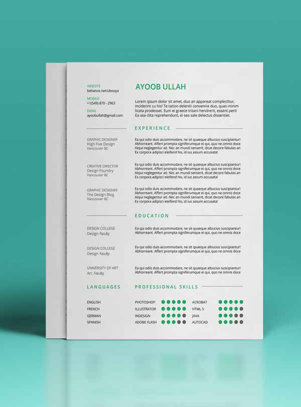 Gallery of 10 best free resume cv design templates in ai mockup psd