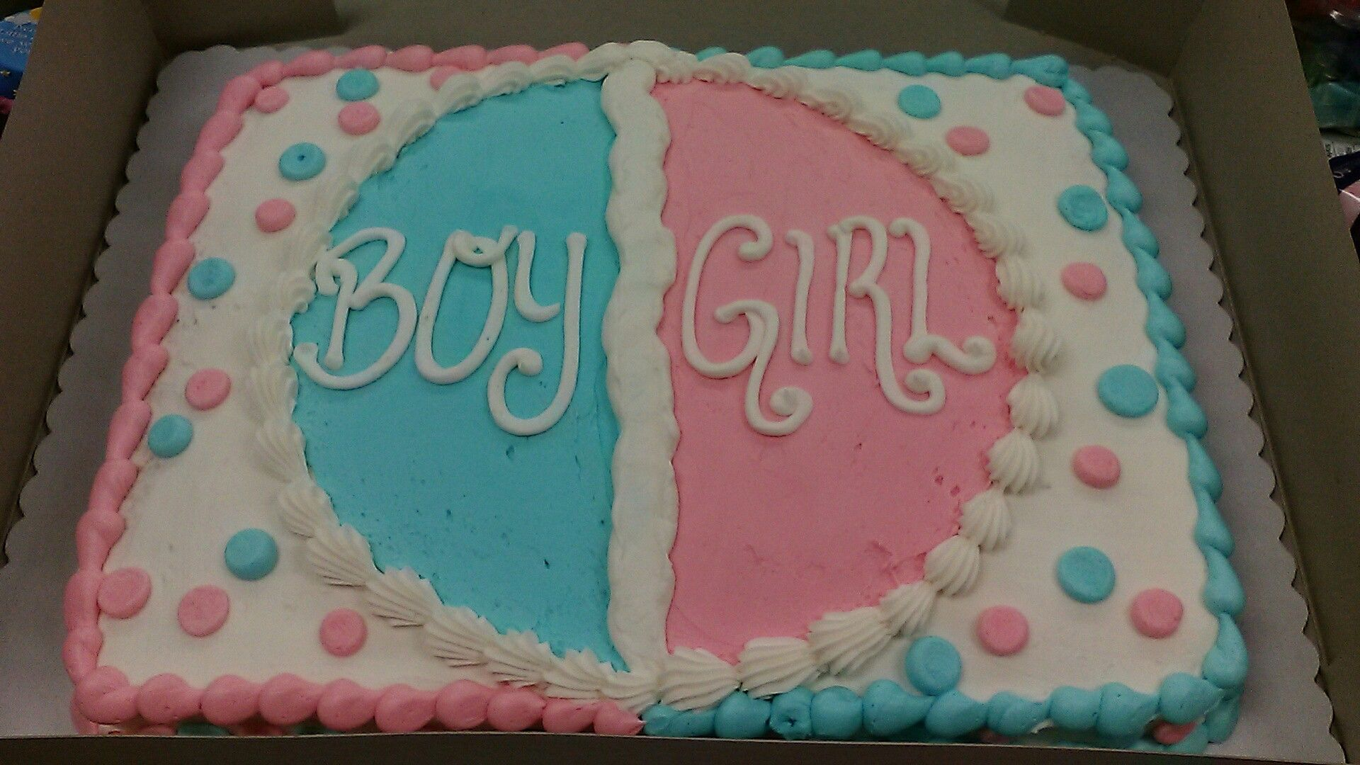 Buttercream Sheet Cake Gender Reveal Idea Light Pink And Light Blue Polka Dots Gender Reveal Cake Simple Gender Reveal Gender Reveal Cupcakes