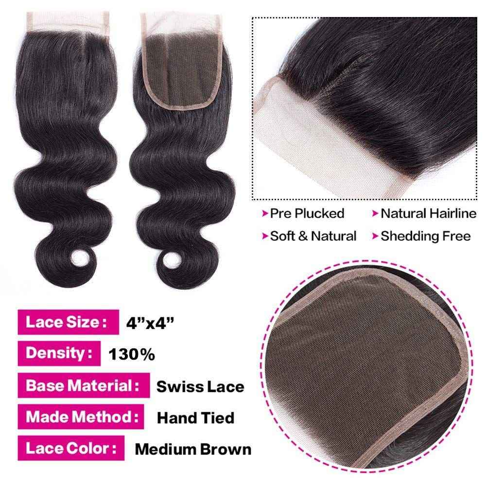 14 Inch Brazilian Body Wave Closure Unprocessed Human Hair Lace Closure 4x4 Natural Black Color 1 In 2020 Peruvian Hair Body Wave Brazilian Hair Bundles Hair Bundles