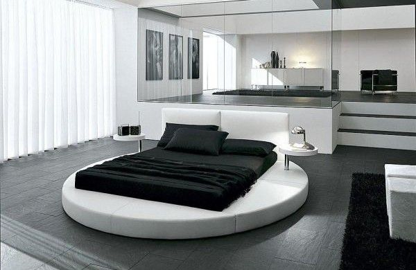 anspruchsvoll schwarz weiß Bett grau Innendesign Gardinen - gardinen für schlafzimmer
