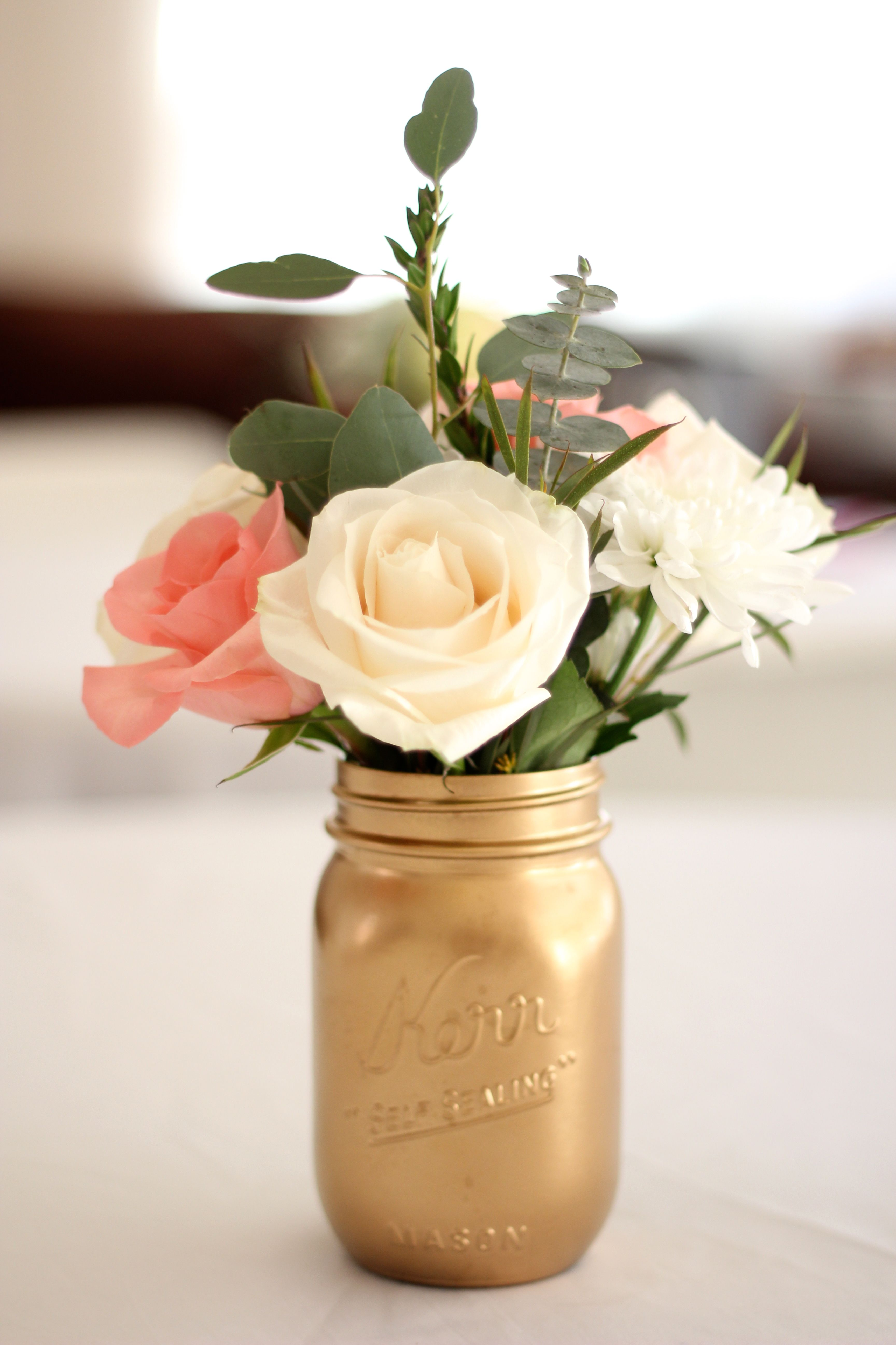 Spray painted mason jar for centerpieces olinda for 80th birthday decoration