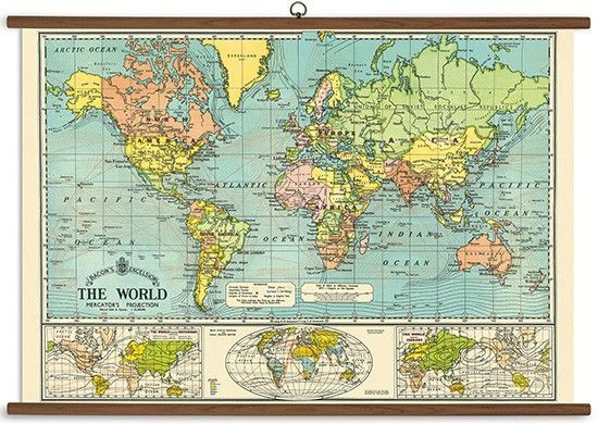 Vintage school chart by cavallini paper world map vintage school ready to hang art for your wall 28 x 40 hanger included gumiabroncs Images