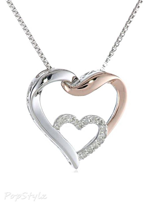 Valentine/'s Day Love Gift Double Heart Necklace Diamond Accents 14K White Gold Plated