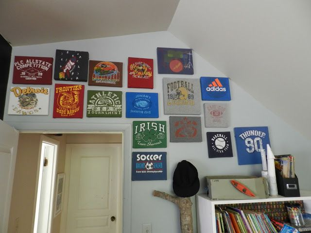 Memorable Wall Art! Staple a memorable t-shirt on a canvas and hang it up! The possibilities are endless! Can also use stretcher strips! & Memorable Wall Art! Staple a memorable t-shirt on a canvas and han ...