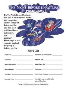 The Night Before Christmas Poem Mad Libs Game | Choir stuff ...