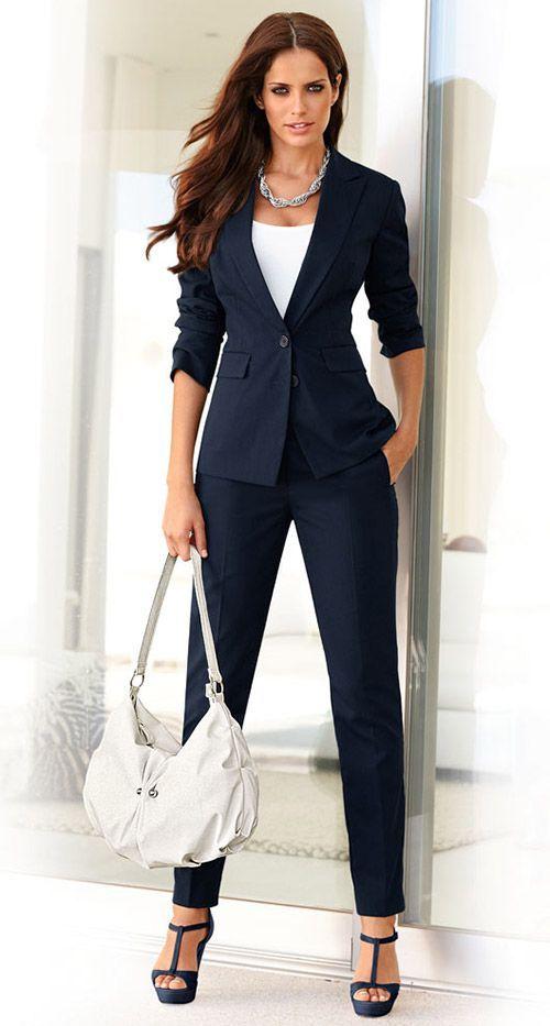 2021 Ofis Kombinleri Bayan Takim Elbise Lacivert Pantalon Ve Ceket Spor Kesim Takim Takim Elbise Moda Isyeri Tarzi