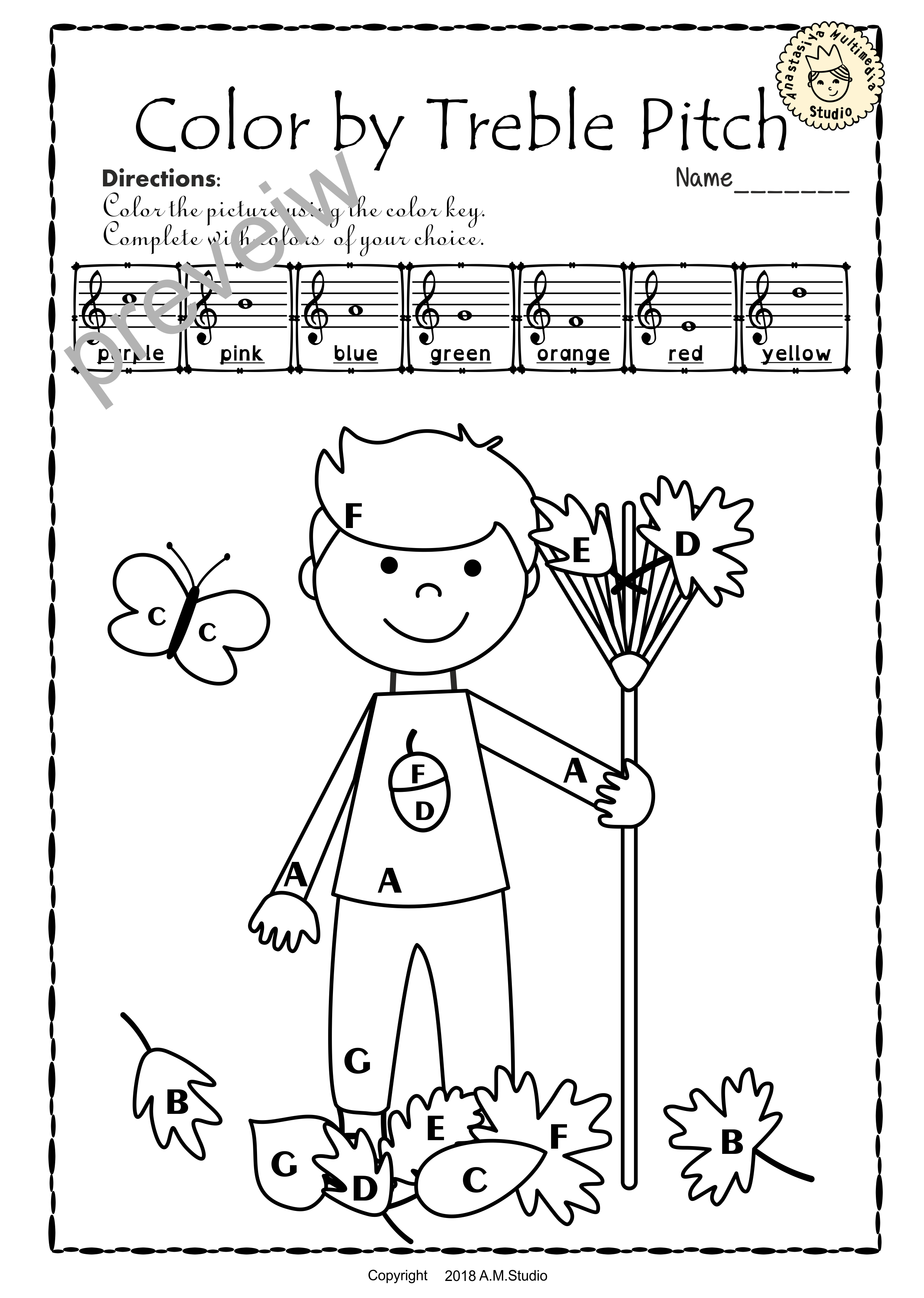 Treble Clef Note Naming Worksheets For Fall