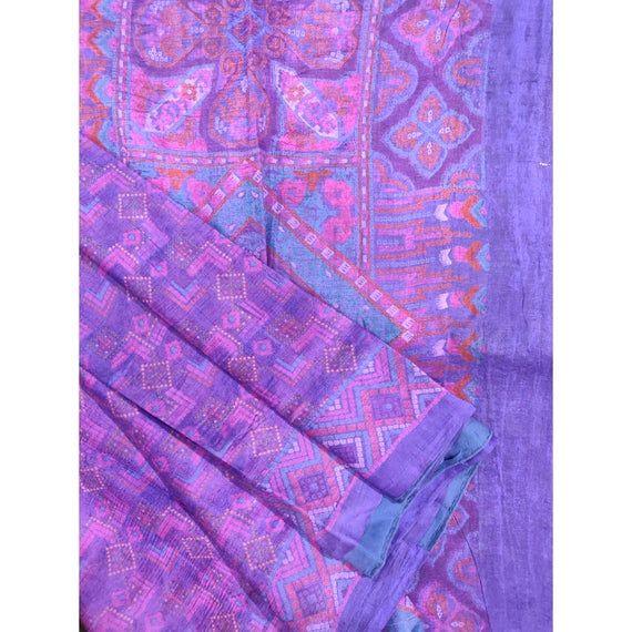 5-Yards Saree Vintage saree 100 /% Pure Silk printed saree