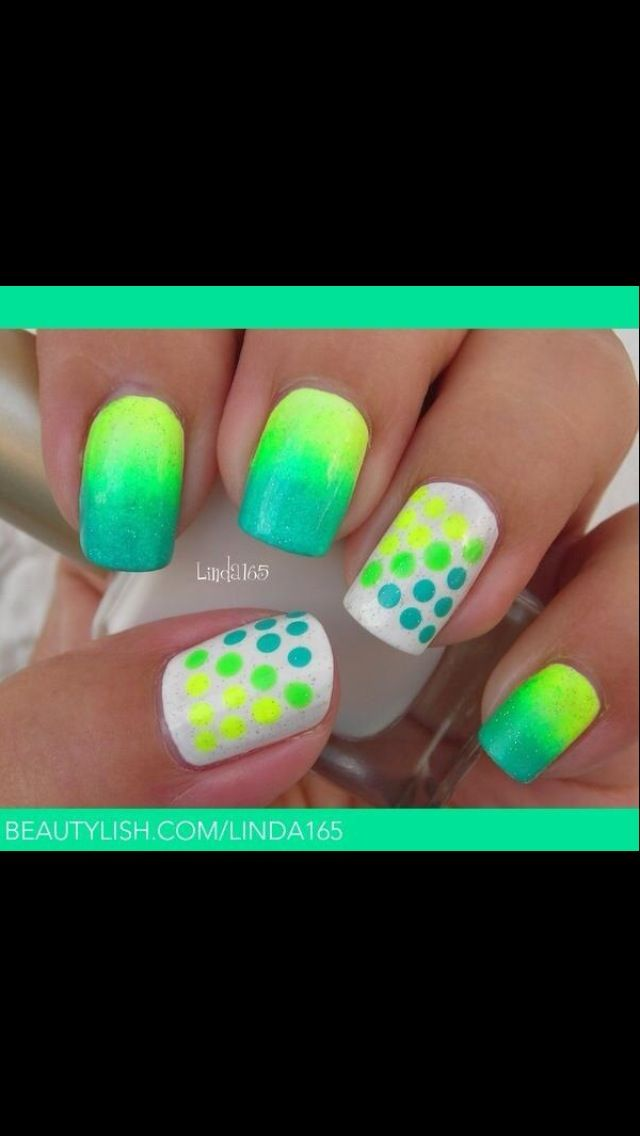 Yellow blue and green | Nails | Pinterest