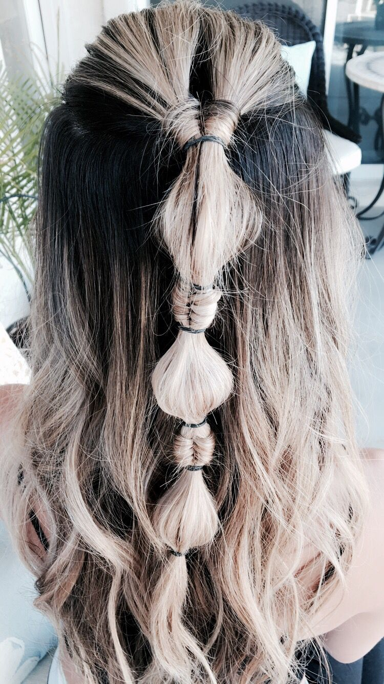 Casual Infinity/Bubble Braid hairstyle for long hair ...