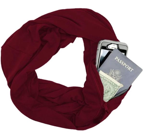 Convertible Infinity Scarf Secret Zipper Pocket Multiple Loop Circle Scarves
