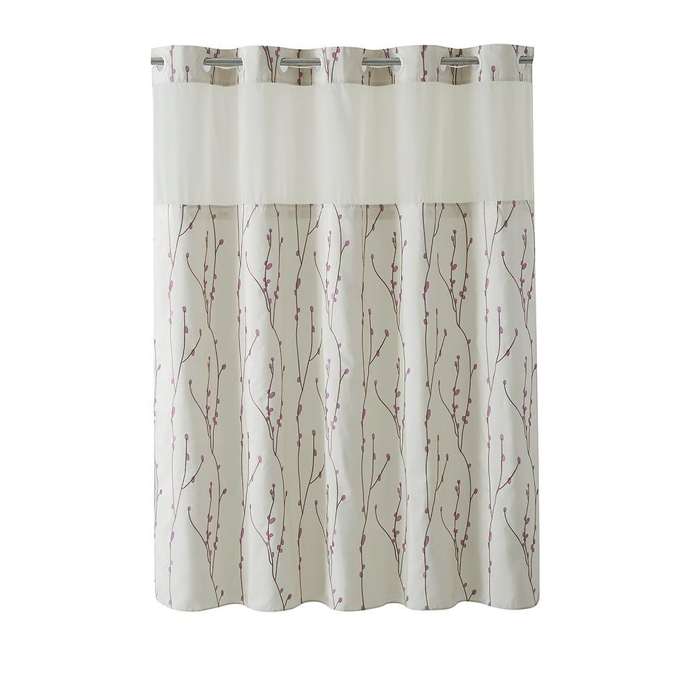 Hookless Shower Curtain Cherry Bloom Pearl Taupe Brown Beige In 2020 Hookless Shower Curtain Long Shower