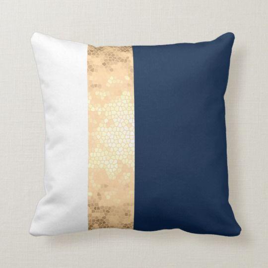 Best Elegant Gold Navy Blue White Stripes Throw Pillow Zazzle 640 x 480