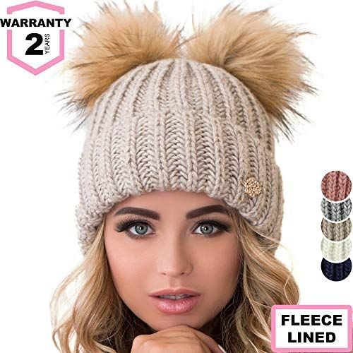 e3b4538d00471 The perfect Braxton Beanie Women - 2 Pom Ears Cable Knit Winter Warm Fleece  Hat - Wool Snow Outdoor Ski Cap.   19.45 - 19.95  allfashiondress from top  store