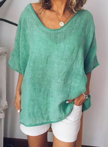 Photo of Women Thin Summer Linen Plus Size Short Sleeve Casual Tops