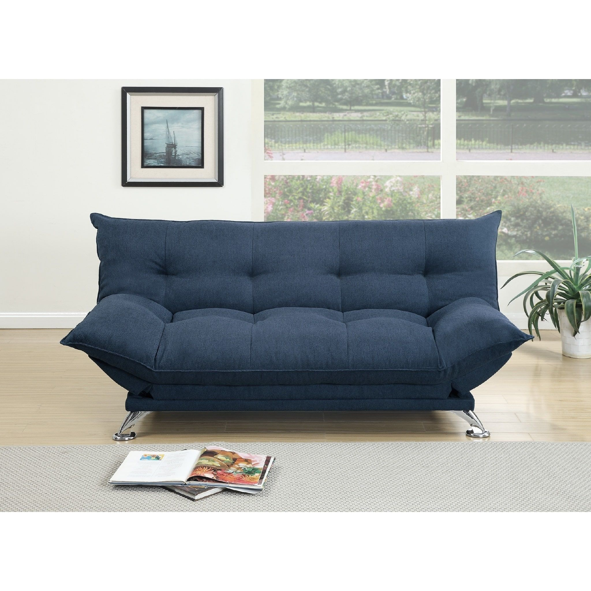 Rio Polyfiber Plush Sleeper Sofa Blue Futon Sofa Futon Sofa Bed Sofa Bed Navy