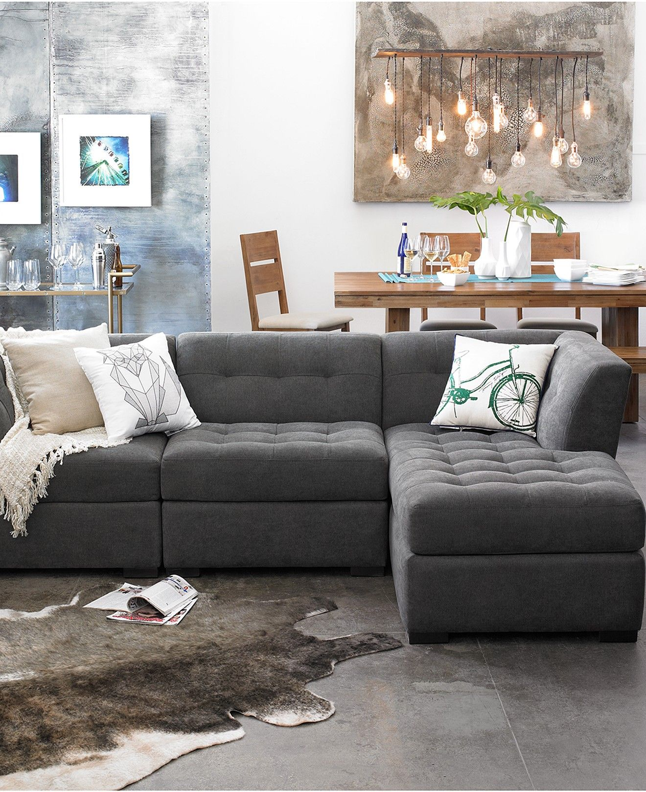 Roxanne Fabric 3 Piece Modular Sectional Sofa Created for Macy s
