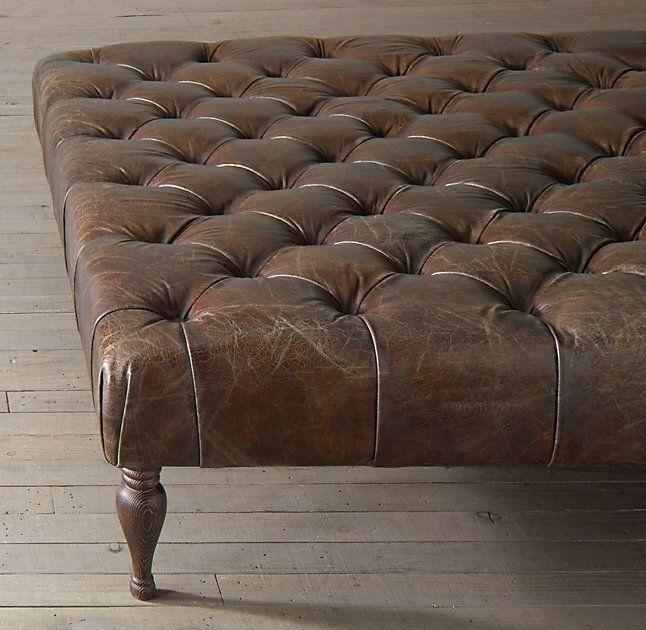 Rh S 53 34 Bennett Square Leather Ottoman Multipurpose Furniture