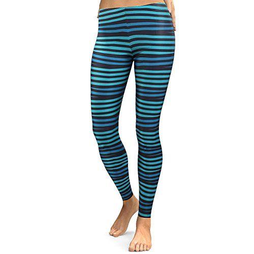 29b5c9cf1832e MKP Leggings Women Fashion (Pattern Two) Black and Blue Horizontal Striped  Leggings