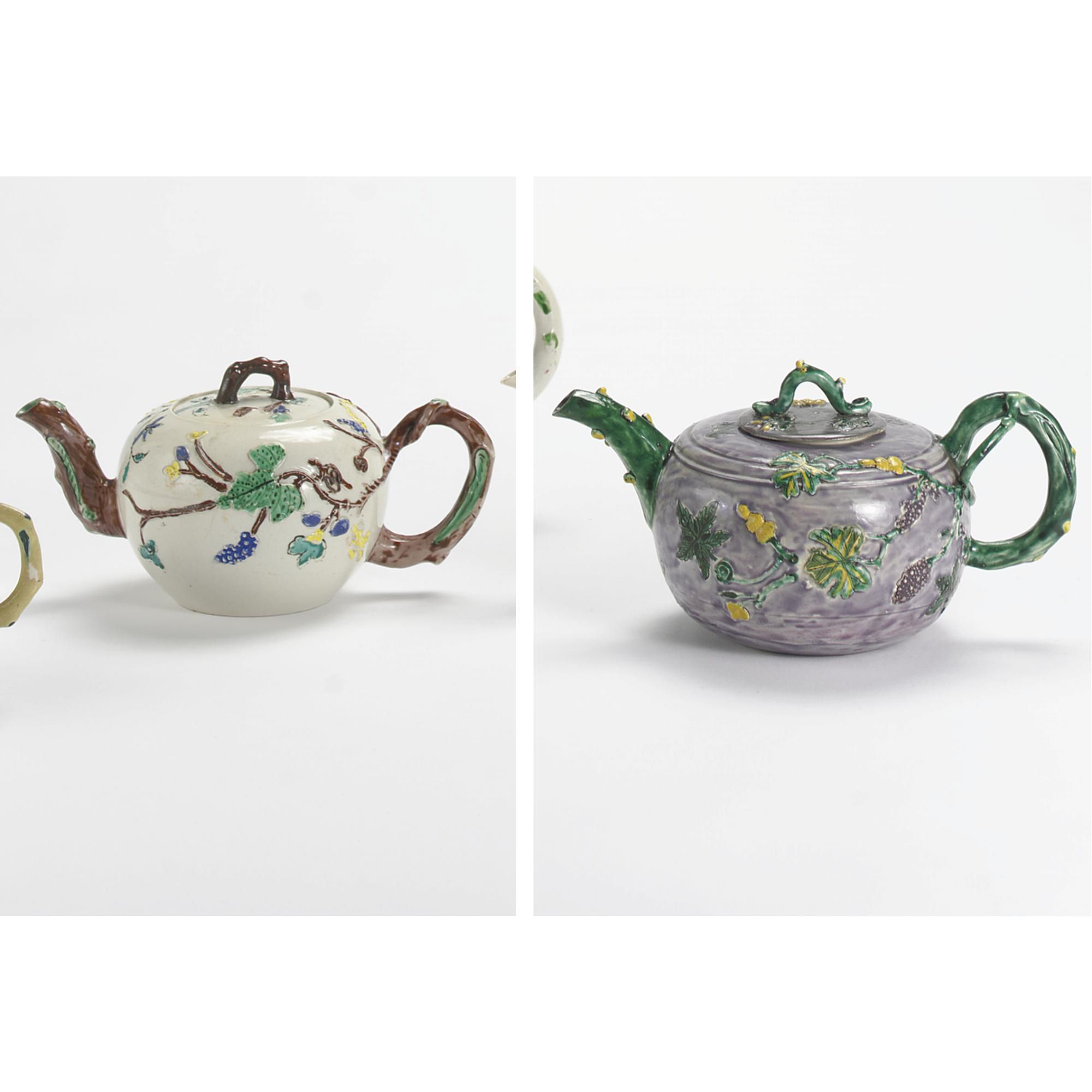 TWO STAFFORDSHIRE ENAMELLED SALT-GLAZED STONEWARE TEAPOTS AND COVERS CIRCA 1755