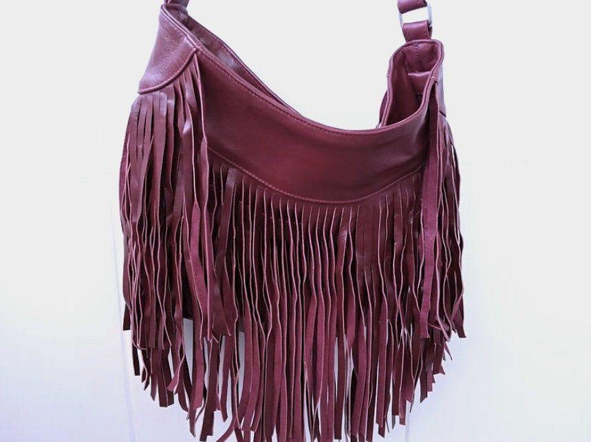 Leather Bag With Fringe Boho Bag Tassel Bag Fringed Leather Bag