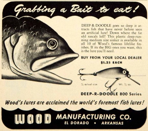 Photo of 1950 Ad Wood Deep-R-Doodle Fishing Lure Bait Tackle Sporting Goods Outdoors YFS2…