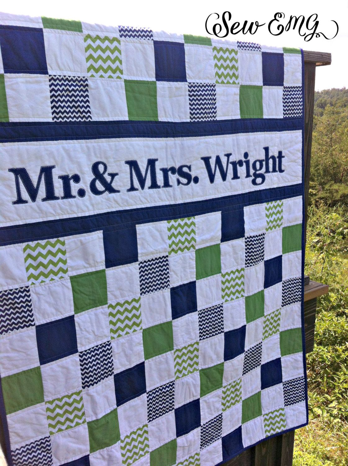 Wedding Quilt Patchwork Monogram Name Custom Made Von Sewemg