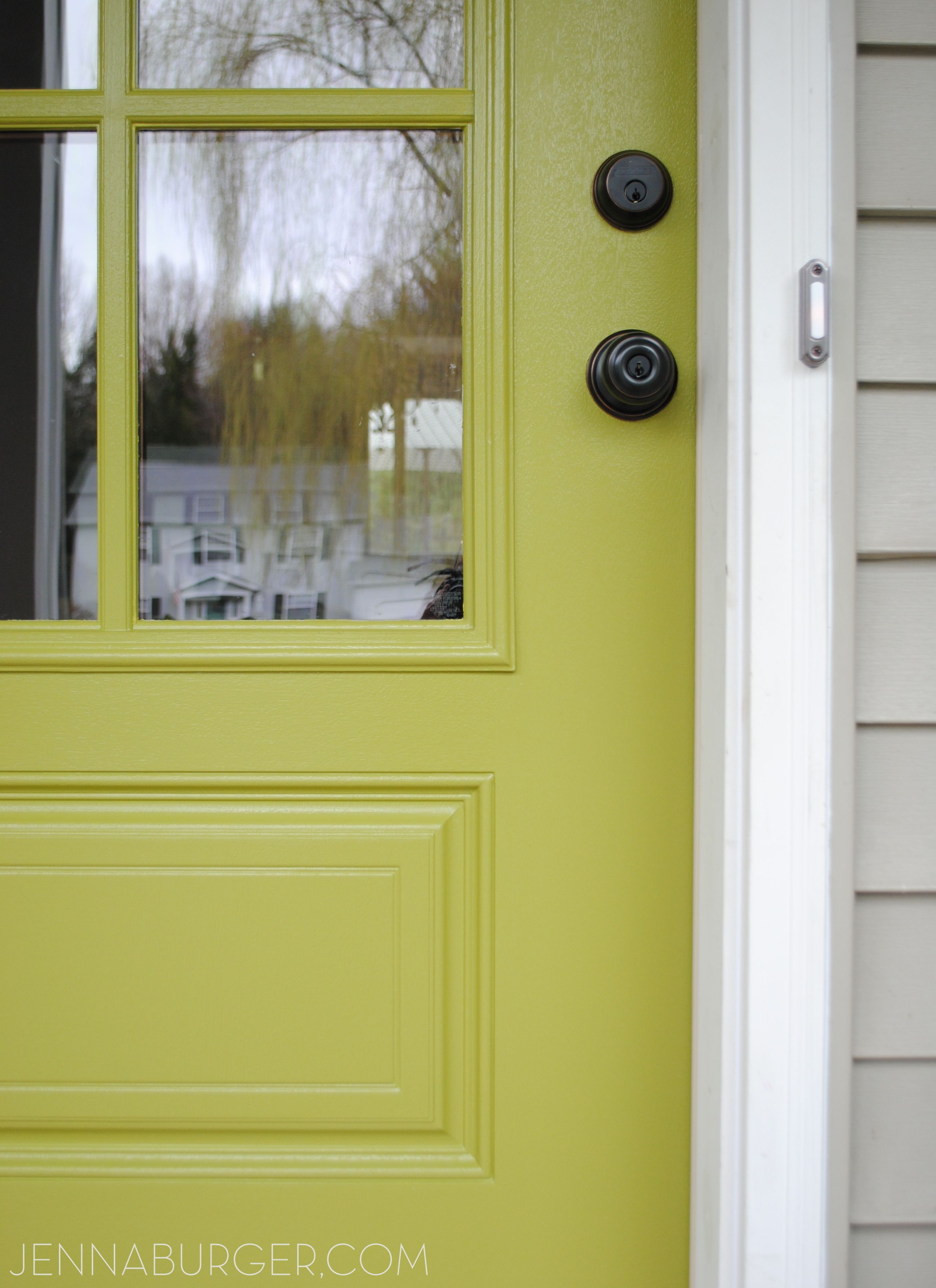 New paint color on the front door Valspar Crushed Oregano
