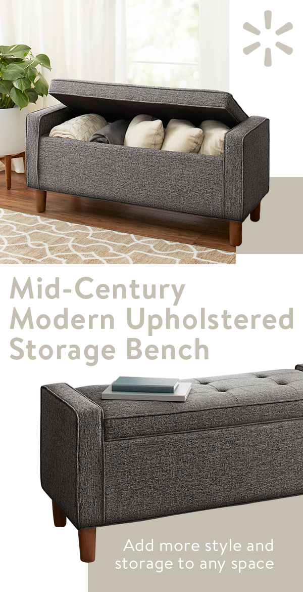 Inspired By Mid Century Design The Better Homes And Gardens Flynn Upholstered Storage Bench Has Seating Style All In One