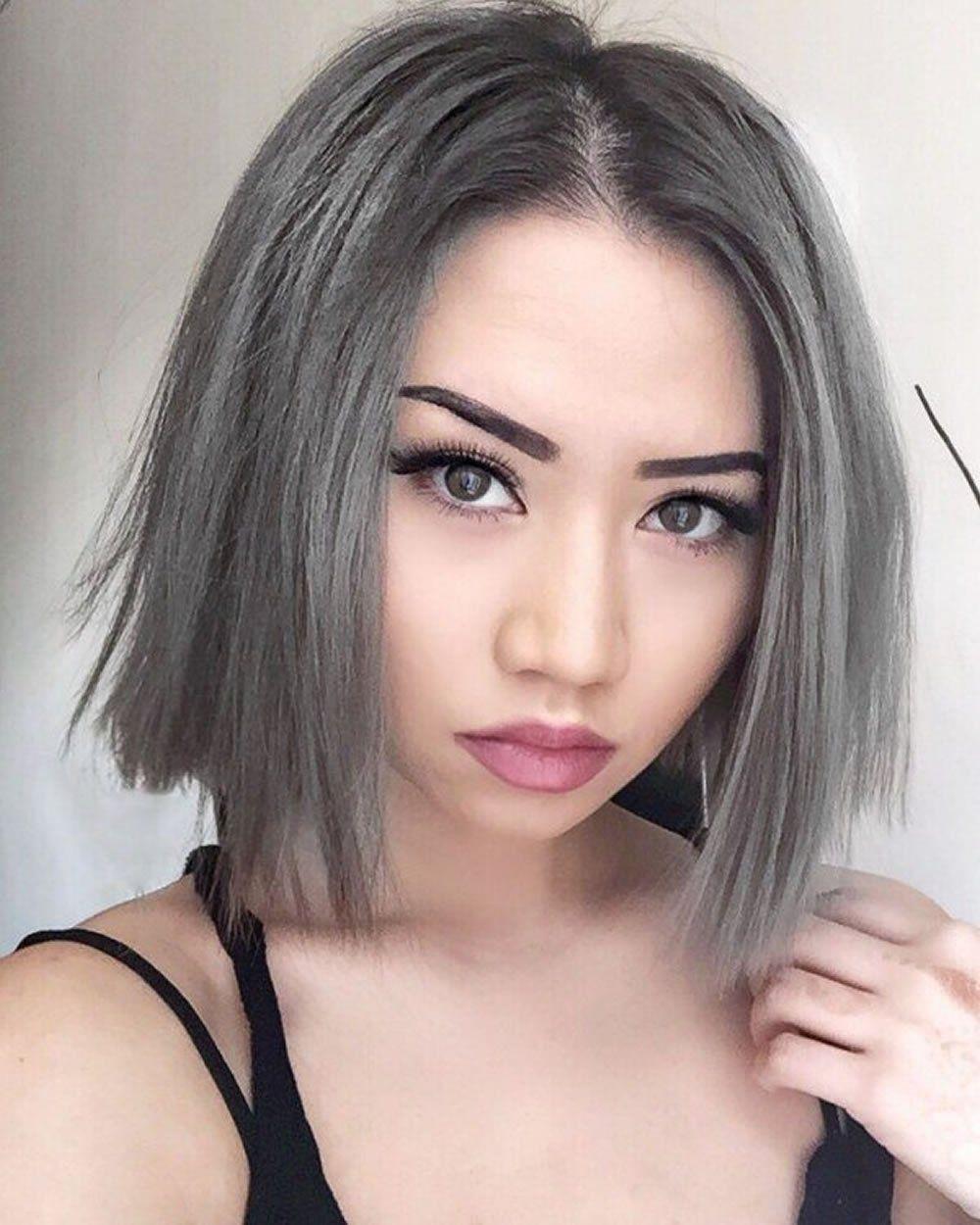Short bob haircut & Hair color ideas for 2018 Grey hair