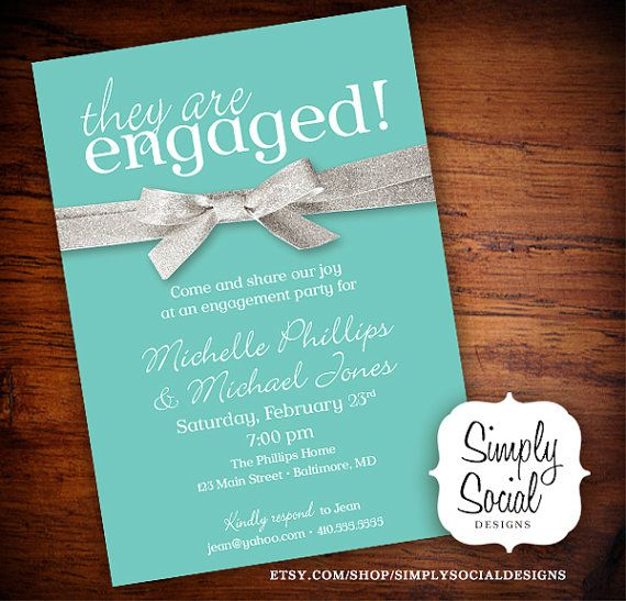 Tiffany Blue And Glitter Ribbon Engagement Party Invitation On