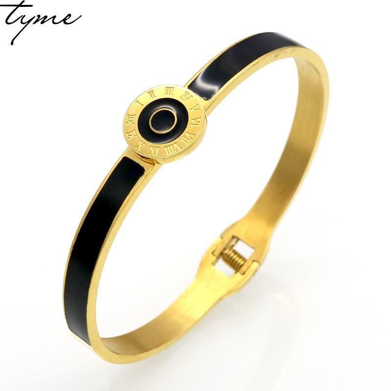 Fashion New Arrival Brand Design Double Circle Roman Numerals Cuff Love Bracelets & Bangles Black Resin Charming Womens jewelry