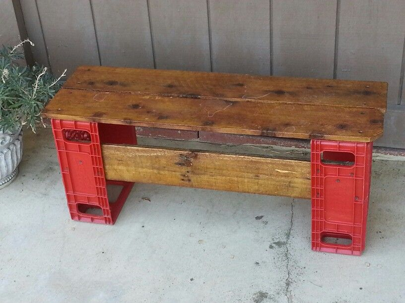 Upcycled plastic coca cola crates made into a bench or for Wood crate bench