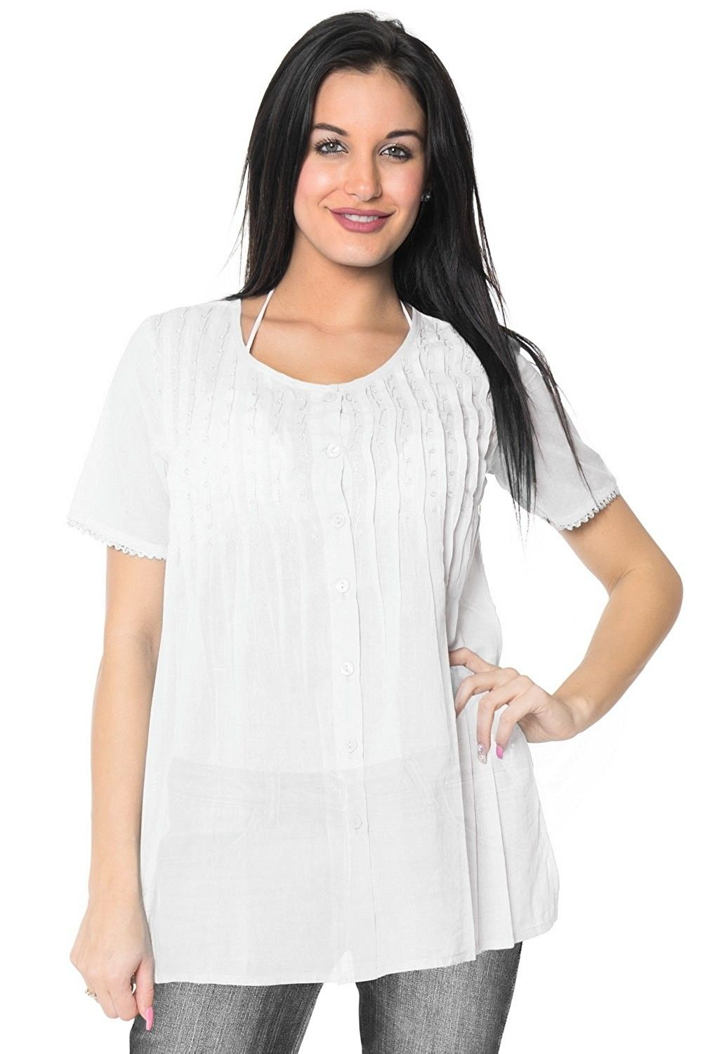 04183d84f3181 Round Neck Button Down Shirt Soft Cotton Cover up/Tunic/Top Casual/Wear to  Work - Snow White - CD12BXNIGJL,Women's Clothing, Swimsuits & Cover Ups, ...