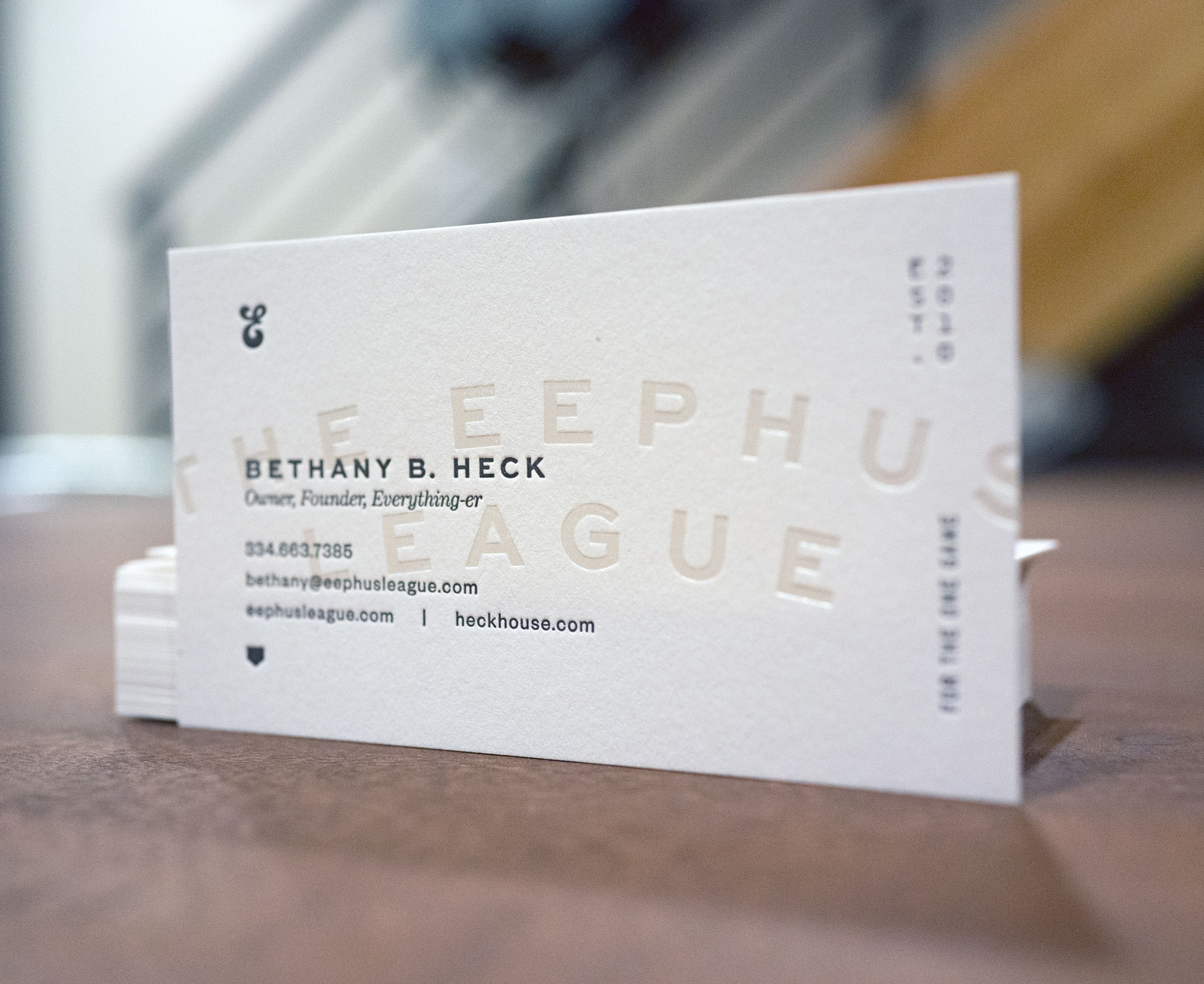 2 colour letterpress business cards layered