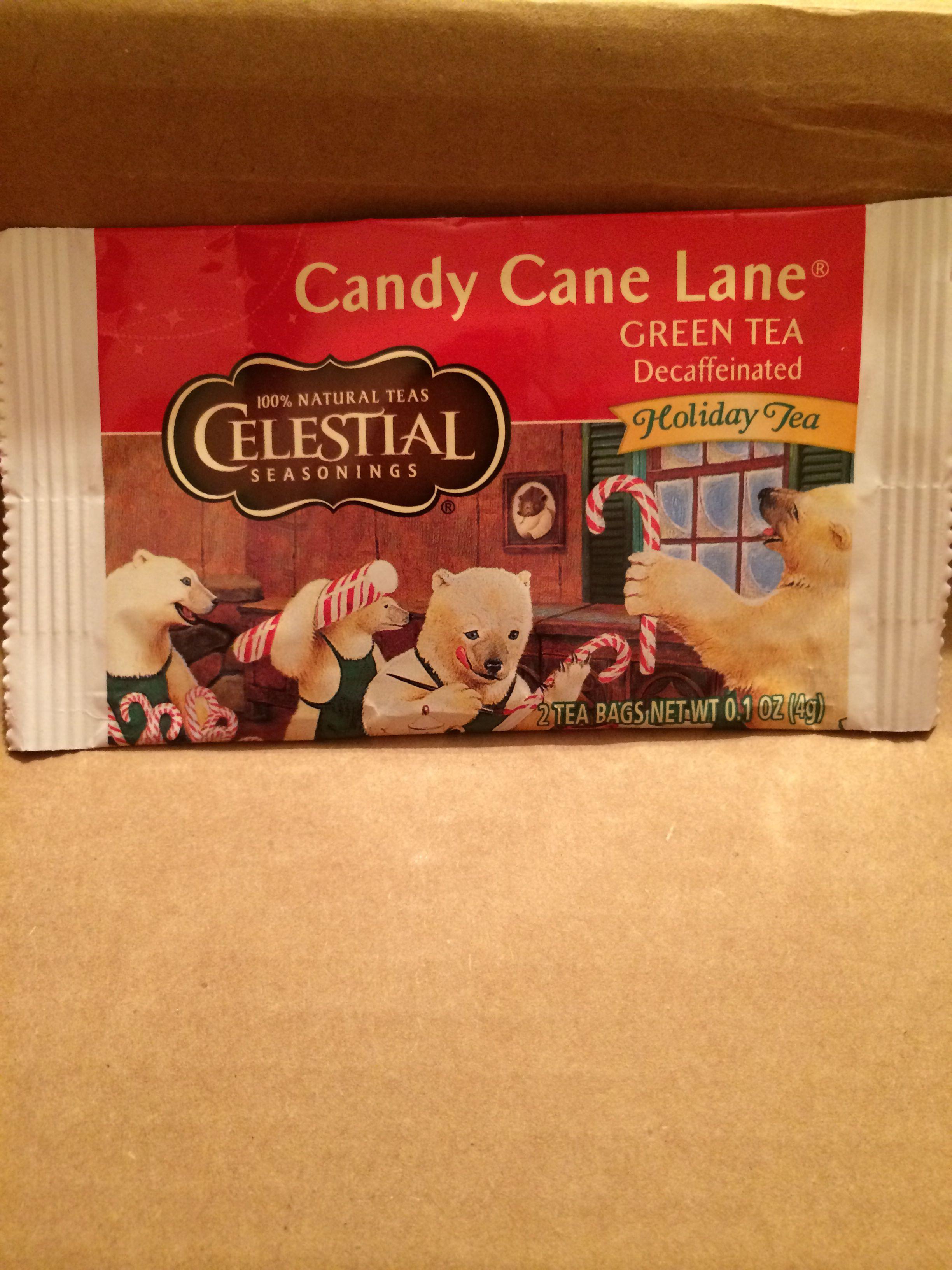 Celestial Seasonings Candy Cane Lane Decaf Green Tea. Live