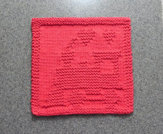 TRAIN Baby Wash Cloth. Hand Knitted 100% by AuntSusansCloset