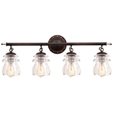 "Photo of Brierfield 28 ""Wide Antique Copper 4-Light Bathroom Light – # 7C238 | Lamps Plus"