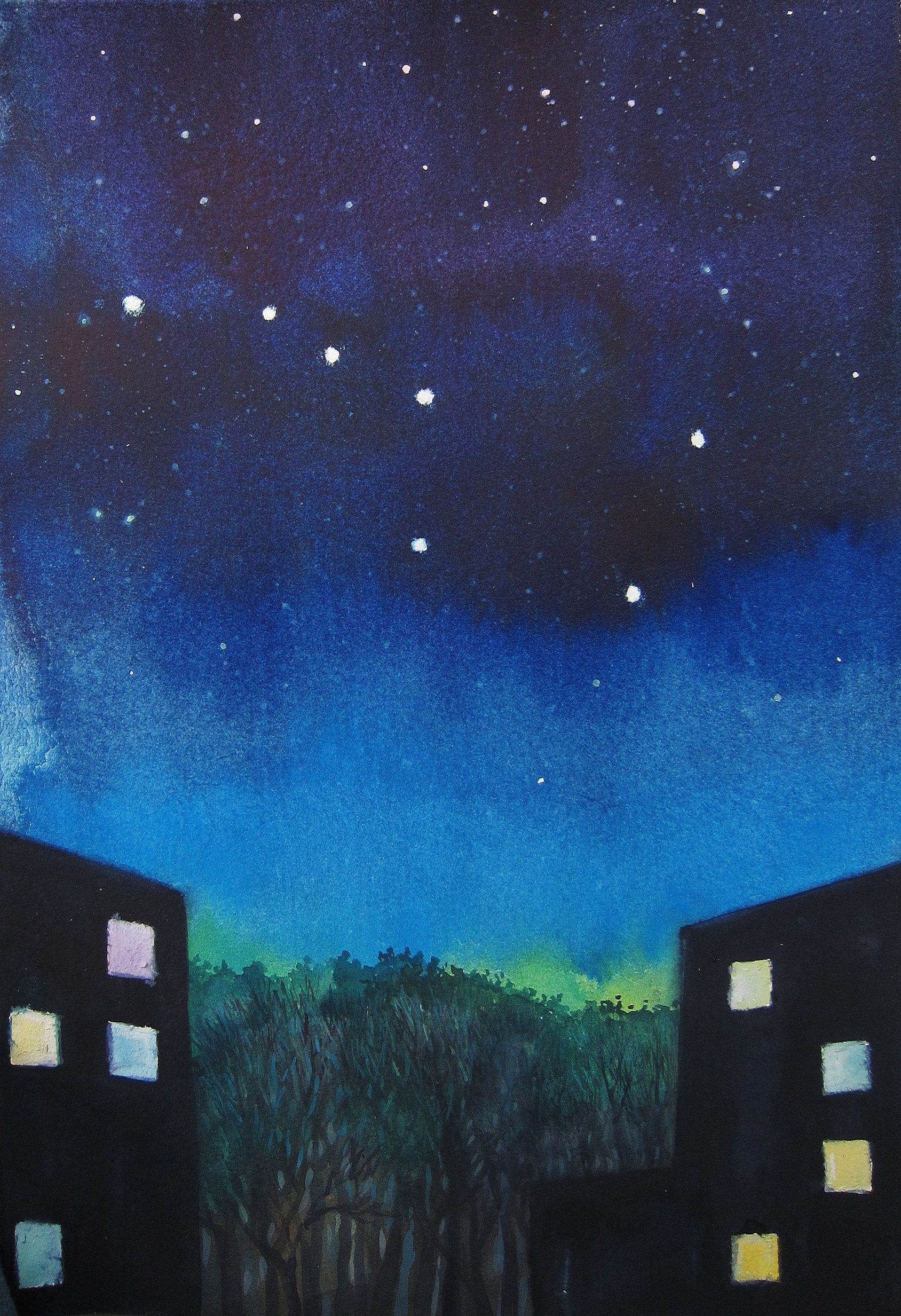 Items Similar To Watercolor Landscape Night Stars Big Dipper Star Sky Original Painting Art For Sale Blue And Navy Colors Night Town Trees On Etsy Watercolor Landscape Big Dipper Cute Canvas