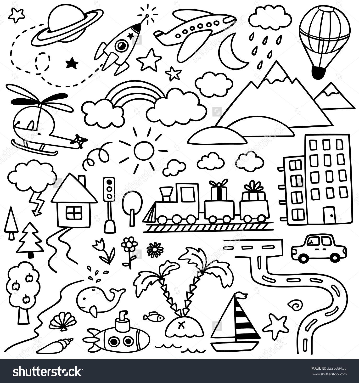 hand drawn kids doodle set schriftarten icons grafiken