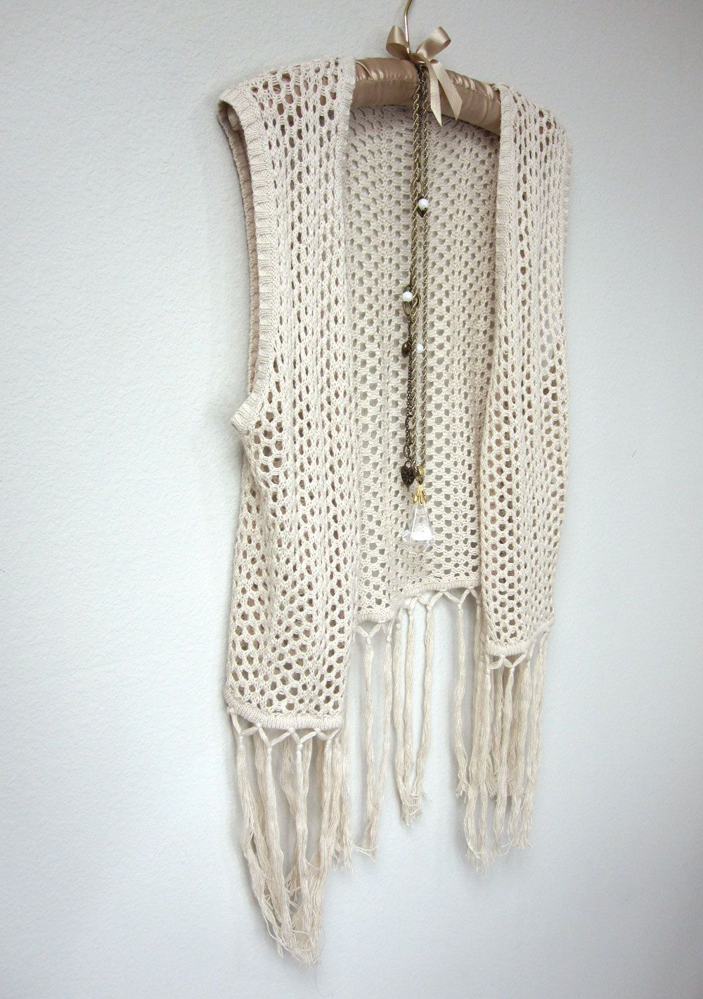 Boho Light Beige, Cream Crochet Fringe Vest, Open Weave With Long Fringe  Hem,