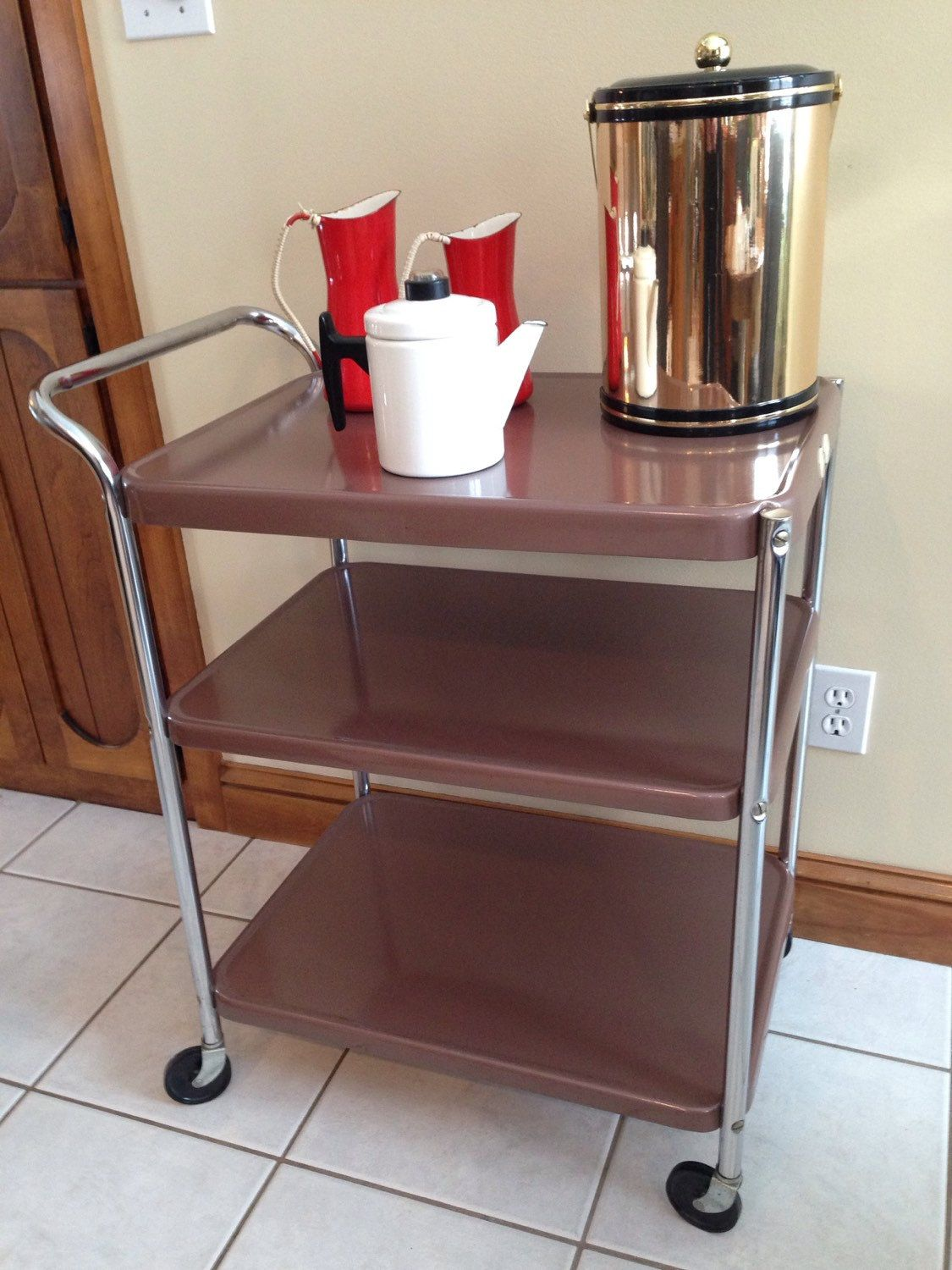 Vintage Metal Rolling Kitchen Cart 3